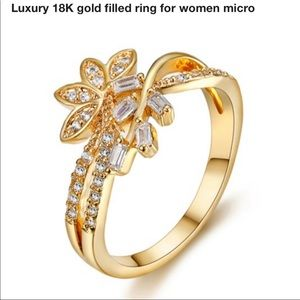 18 kt yellow gold filled flower ring